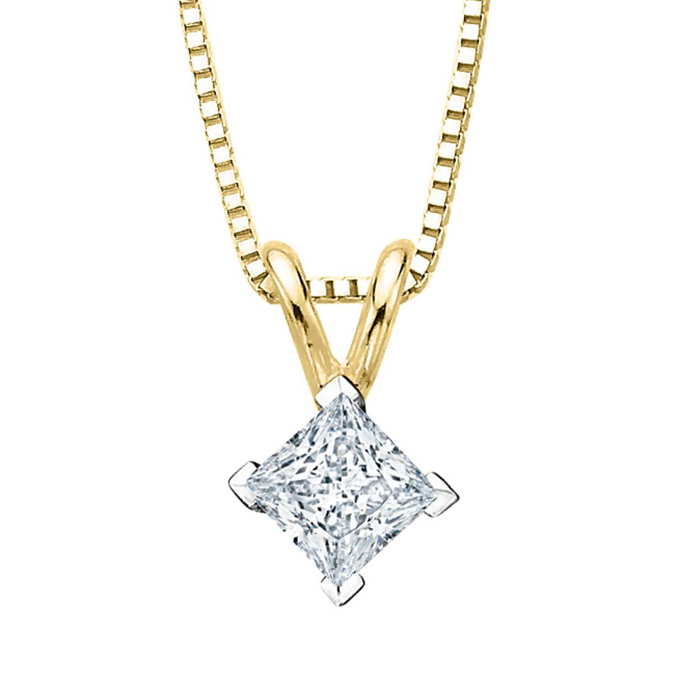GIA Certified 1.03 ct. L - VS1 Princess Cut Diamond Solitaire Pendant Necklace in 14K Yellow Gold