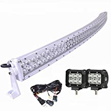 """Simplive® 20"""" Inch 120W 10v-30v White Curved CREE LED Light Bar IP67 Waterproof Flood Spot Combo Beam for Offroad SUV UTE ATV Truck with Free 2PCS 18W Flood LED work light and Wiring Harness and Mounts"""