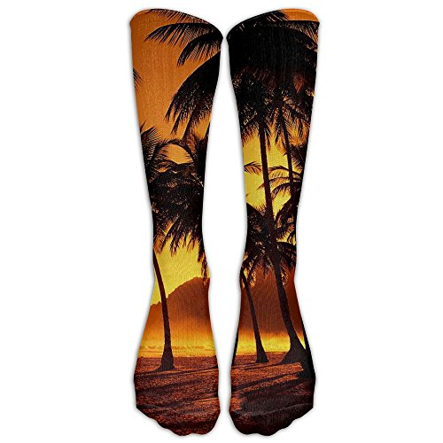 Girls Hawaii Sunset Palm Beach Compression Stockings Funky Crew - Sugar Turkey Beach