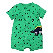 Kidsform Baby Boy Romper Summer Short Sleeve Bodysuit Sleep and Play Jumpsuit Animal Outfit Green Dino 9-12M