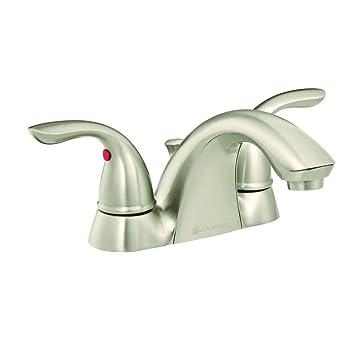 Glacier Bay Builders 4 in. 2-Handle Low Arc Bathroom Faucet in ...