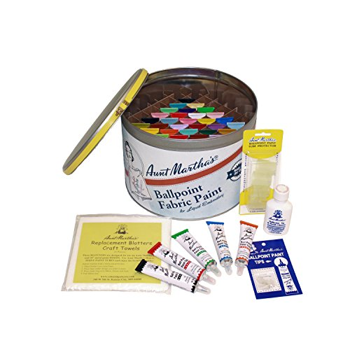 Aunt Martha's Full Stocked Ballpoint Paint Color Caddie, Fully Loaded with 34 Paints and -