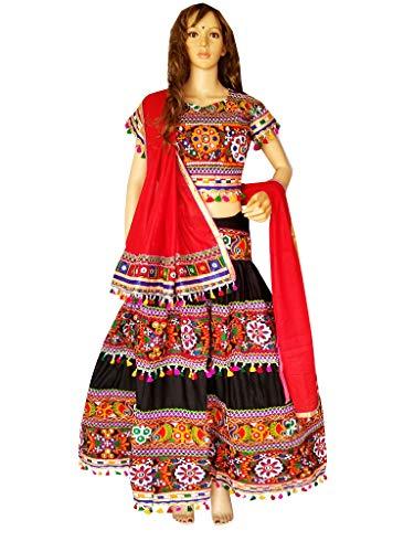(Nanda Women Rayon Rabari Kutch Embroidered Work Chaniya Choli With Original Mirror Work Ghagra Choli Garba Costume Navratri Wear Black Free size)