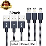 iPhone Cable Charger Usb Lightning Cable Cord Compatible With iPhone 7 7 Plus 6 6s 6 plus 6s plus,iPhone 5 5s 5c,iPad iPod 3Pcs 3ft 6ft 10ft Nylon Braided (Black-silver white)
