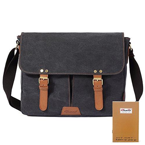 Vintage Men Messenger Bag, Kaukko Canvas Crossbody Shoulder Bags Laptop Briefcase Black by KAUKKO (Image #10)