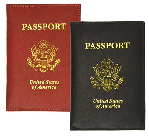 2 Passport Cover Holders Genuine Leather ID Wallet Case Travel Red Black New !
