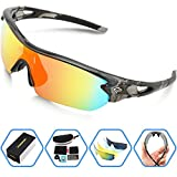 (US) Torege Polarized Sports Sunglasses With 5 Interchangeable Lenes for Men Women Cycling Running Driving Fishing Golf Baseball Glasses TR002 (Transparent Gray&Rainbow lens)