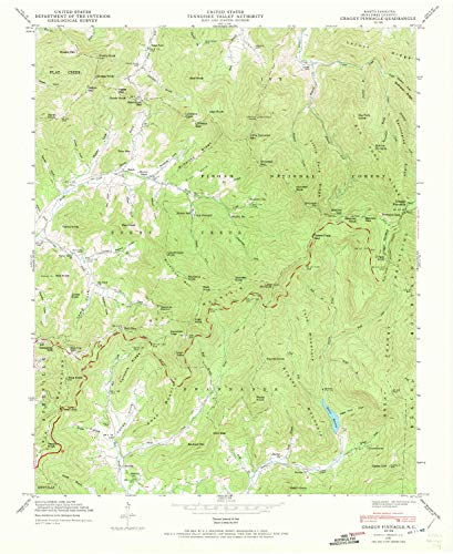 (YellowMaps Craggy Pinnacle NC topo map, 1:24000 Scale, 7.5 X 7.5 Minute, Historical, 1946, Updated 1972, 27 x 22.1 in - Paper)