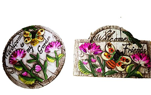 Rustic Concrete Garden Themed Signs With flowers, Gemstones & message
