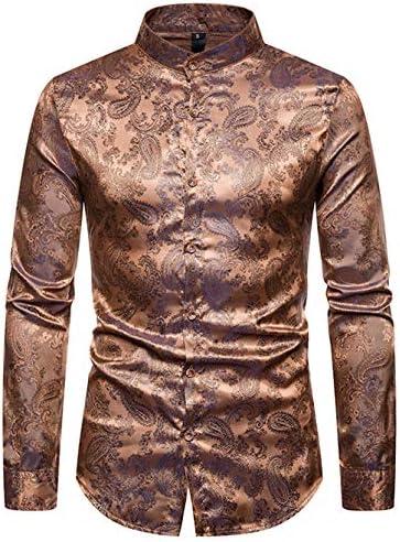 メンズ スタンドカラーシャツ 長袖 ペイズリー柄 おしゃれ 形態安定 ゆったり チャイナ風 カジュアル 衣装