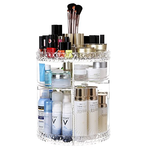 SONGMICS Large Makeup Organizer 360 Degree Rotating Cosmetic Storage Countertop with Adjustable Shelves, for Brushes Lipsticks Cleaners, Clear (Free Time 6 Drawer Dresser)