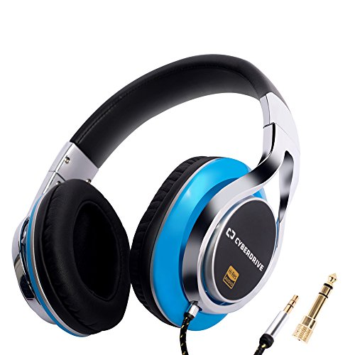 CYBERDRIVE Noise Cancelling Over-Ear Professional Hi-Fi Deep Bass Wired Headphone with Dual 40mm Hybrid Drivers for Wide Dynamic Range(from 12Hz~50,000Hz) and Lightweight Design (Blue Plastic)