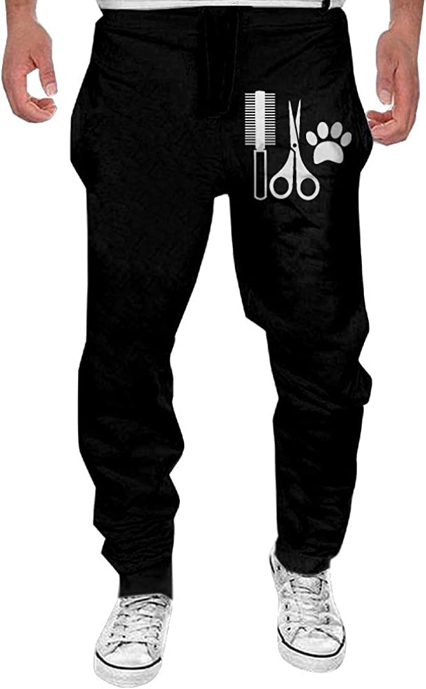 Mens Hair Stylist Tools and Paw Casual Cotton,Gym Beam Trousers