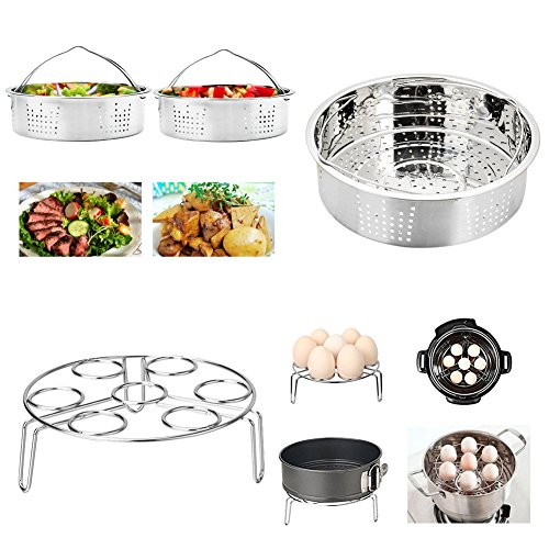 Instant Pot Accessories Set with Steamer Basket, Egg Steamer Rack, Non-stick Springform Pan, Steaming Stand, 1 Pair Silicone Cooking Pot Mitts 5 Piece by JOYORUN (Image #3)