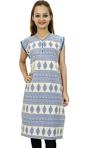 Bollywood diseñador de las mujeres indias usan étnico Kurti vestido túnica de algodón Beige y azul