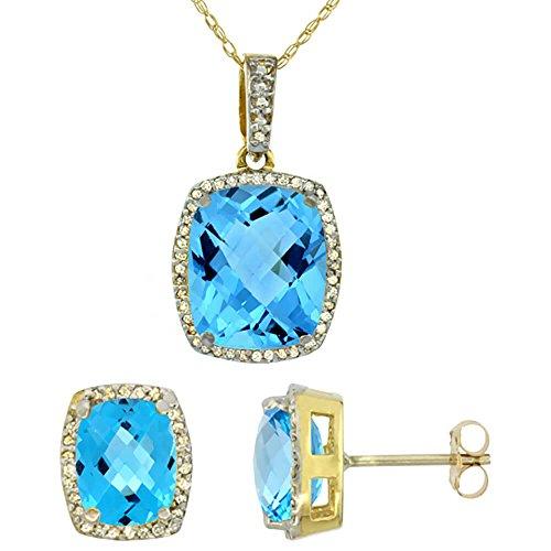 Or jaune 9Ct naturel octogone Coussin Topaze Bleu Suisse Boucles d'oreilles et pendentif Set Accents de diamant