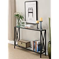 Clear Glass / Black Metal Frame 2-tier Entryway Console Sofa Table with X-Design Sides