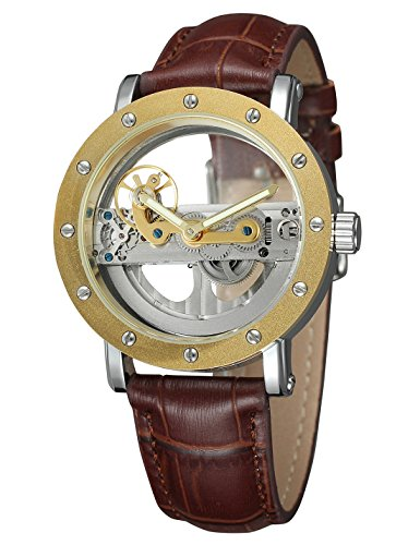 Shaarms Automatic Mechanical Watch Dial Hollow Skeleton Men's Waterproof Leather Wristwatch L1004 G-Brown (Eco Friendly Diamond Dial)