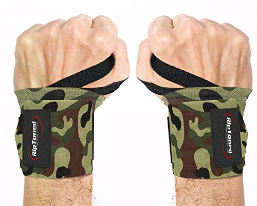 "Wrist Wraps by Rip Toned - 18"" Professional Grade With Thumb Loops - Wrist Support Braces for Men & Women - Weight Lifting, Crossfit, Powerlifting, Strength Training - Bonus Ebook"