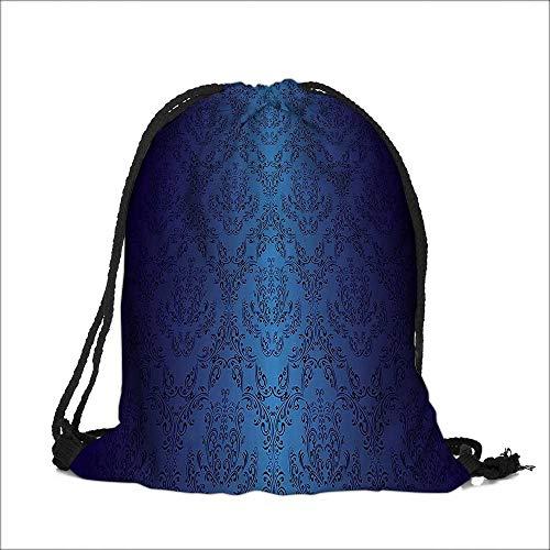 Pocket Drawstring Bag nBaroque Floral Swirling Patterns Victorian Vintage Retro Style Backpack Student Bag 13
