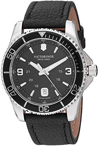 Victorinox Men s Stainless Steel Swiss Quartz Watch with Leather Strap, Black, 21.4 Model 241862