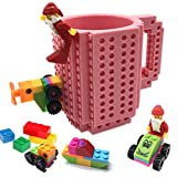 BUTLING Build-On Brick Mug, Creative DIY Building Blocks Coffee Cup, Water Bottle Puzzle Toy Mug, Desk Ornament, Unique Christmas Gift Idea, Compatible with Lego (Pink)