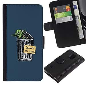 LECELL--Cuero de la tarjeta la carpeta del tirón Smartphone Slots Protección Holder For Samsung Galaxy S5 V SM-G900 -- Basura Yoda divertido --