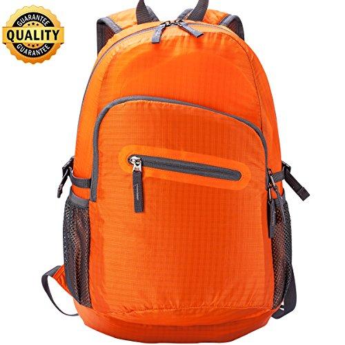 Hiking Backpack 20L 35L Fold UP Backpack Water Resistant Lightweight Backpack Black Orange