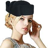 Ladies Teardrop Fancy Wool Fascinator Cocktail Pillbox Hat Formal Racing A253 (Black)
