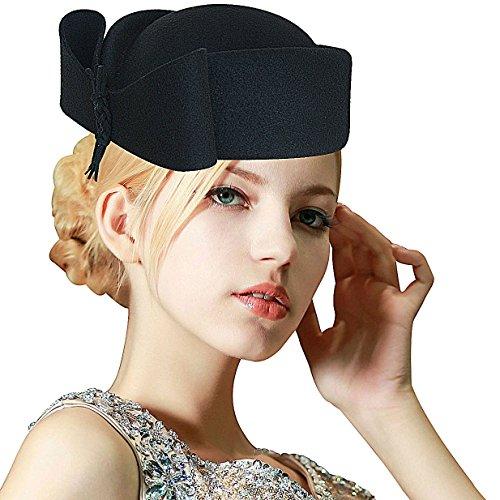 - Lawliet Ladies Teardrop Fancy Wool Fascinator Cocktail Pillbox Hat Formal Racing A253 (Black)