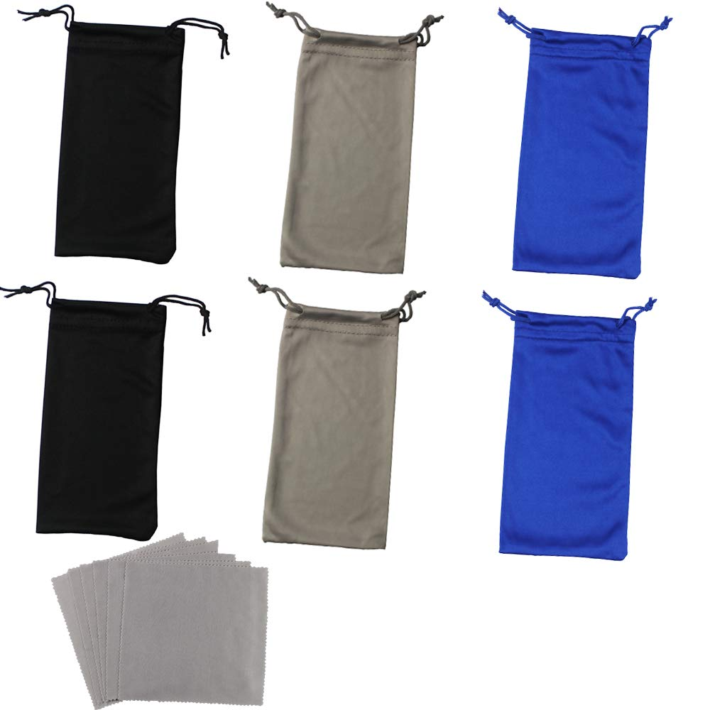 2 Blue//2 Black//2 Grey 6 Pack Soft Microfiber Sunglasses Drawstring Pocket Pouch with 6 Grey Cleaning Cloth High Quality Eyeglasses Storage Pouch Portable Eyeglass Storage Bag