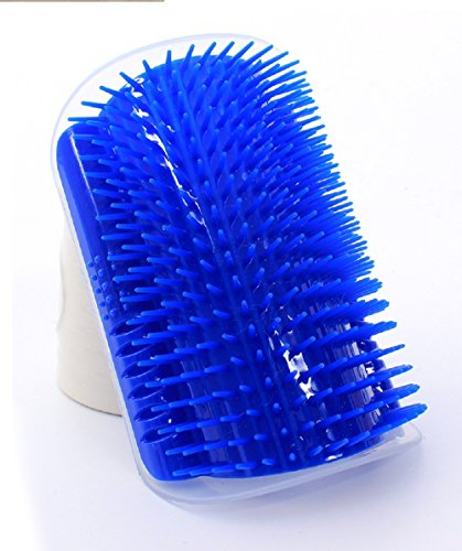 Pet cat Self Groomer Grooming Tool Hair Removal Brush Comb for Dogs Cats Hair Shedding Trimming Cat Massage Device with catnip (Blue)