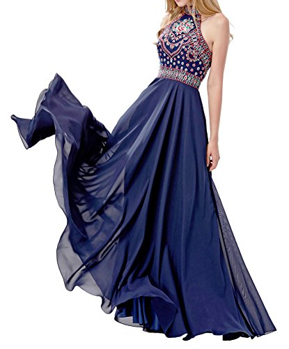 LOVIERA Women long Prom Dresses Homecoming Dresses long Evening Gowns Halter Neck Embroidery Open Back 2017 New Arrival(6,Navy Blue)