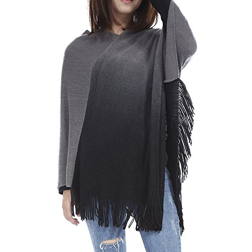 86 York Womens Softie Ombre Knit Fringed Poncho Sweater Dark Gray