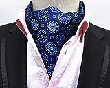 MENDENG Mens Geometric Jacquard Woven 100% Silk Self Cravat Tie Formal Ascot