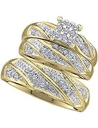 0.30 Carat (ctw) Round White Diamond Cluster Style Men & Women's Engagement Ring Trio Set 1/3 CT, 10K Yellow Gold
