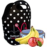 Healthcare Pros Insulated Lunch Tote Bag X-large, X-Thicker Insulation Stylish Luxury Gift Idea by EatRite (Black/WhiteDot)