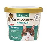 NaturVet Quiet Moments Calming Aid Plus Melatonin for Cats - 60 ct Soft Chews - Made in USA