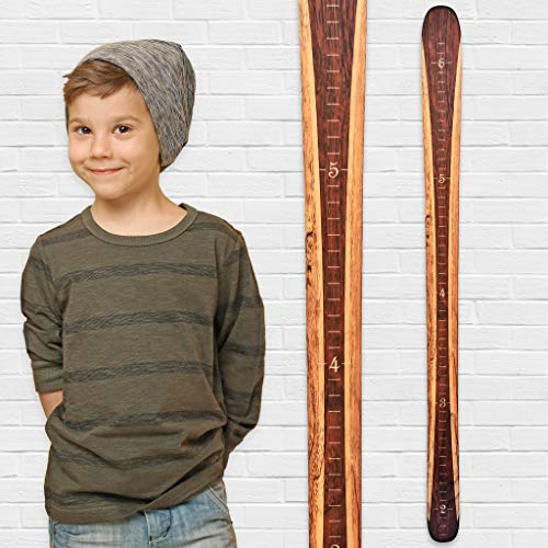 - Growth Chart Art | Wooden Ski Growth Chart | Baby Skis | Ski Gifts | Wall Hanging Wood Height Chart for Measuring Kids, Children, Boys, Girls | Brown