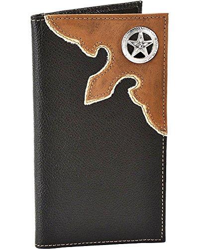 Nocona Men's Star Concho Leather Checkbook Wallet Black One (Nocona Mens Concho)