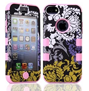 iPhone 5C Case LERBO Flowers Hybrid Impact Case Silicone Cover Case for iphone5c(Pink)