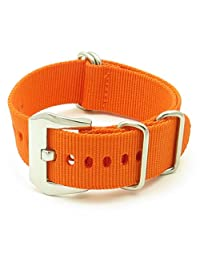 StrapsCo Orange Ballistic Nylon Nato Zulu Watch Strap w/ PRE-V Buckle size 20mm