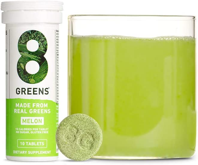 8Greens Immunity and Energy Effervescent Tablets - Packed with 8 Powerful Super Greens (Melon, 1 Tube/10 Tablets)