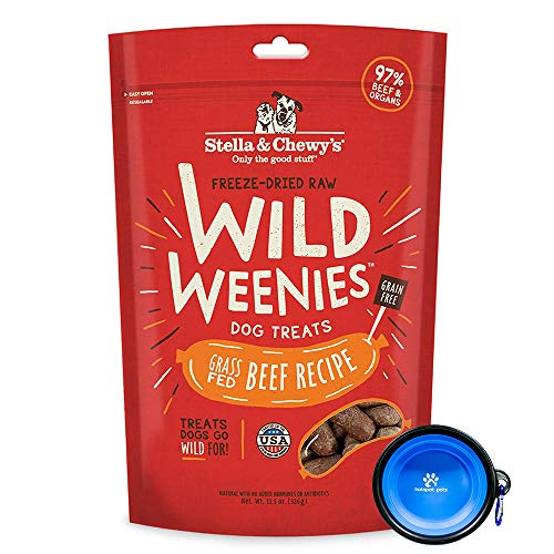 Stella & Chewys Freeze Dried Raw Dog Food,Wild Weenies Treat Snacks 11-Ounce Bag with Hotspot Pets Food Bowl - Made in USA (Beef)