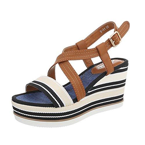 7b66ed583 Ital-Design Zapatos para Mujer Sandalias de Vestir Plano Sandalias con  Plataforma  Amazon.es  Zapatos y complementos