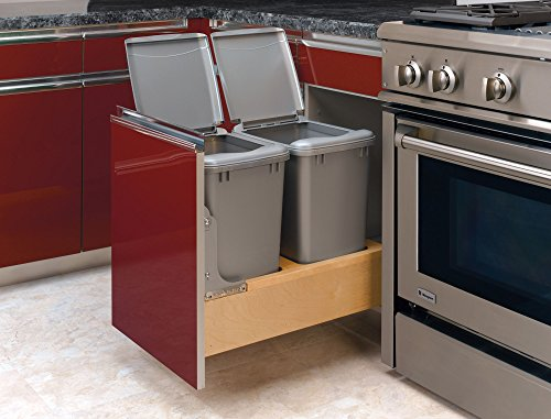 Rev-A-Shelf 4WCBM-18DM-2 Double Pull-Out Bottom Mount Wood and Silver Waste Container with Rev-A-Motion Slides, 35 quart, Natural - 2 Shelf Natural Wood