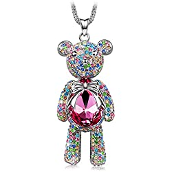 "Valentines Day Gifts J.NINA ""Bear Princess"" Made with Pink Swarovski Crystals Cute Bear Design Women Jewelry Necklace, Ideal Gift on Birthday"