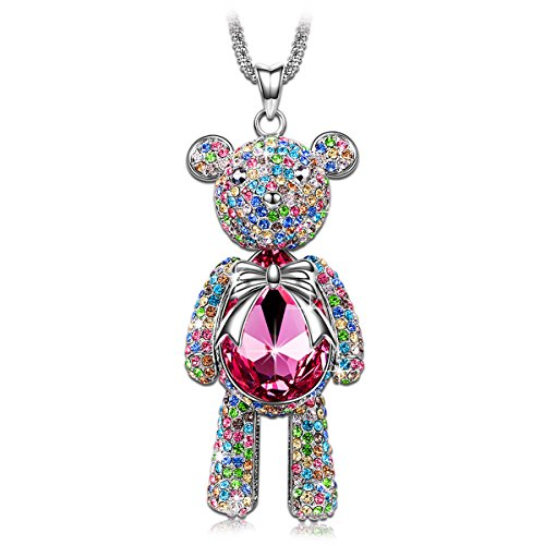 Pink SWAROVSKI ELEMENTS Crystal Teddy Bear Charm Pendant Necklace Women Fashion Animal Jewelry
