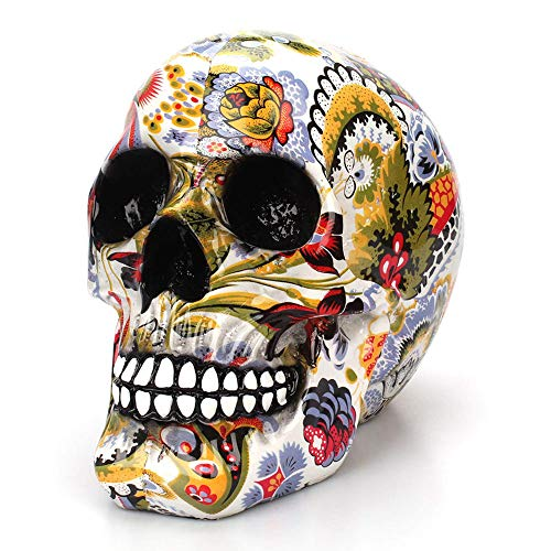 Horror Skull Mexican Decoration Resin Human Skeleton Skull Color Flower Painting Halloween Home Bar Table Desktop Decoration Craft Gift]()