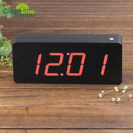 pengweiGente perezosa LLEVÓ el reloj de escritorio creativo Reloj sobremesa de madera verde luminoso verde despertador